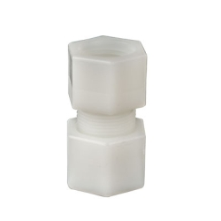 "1/4"" OD Tube x 1/4"" FPT Jaco Polypropylene Female Coupling Tube Fitting"