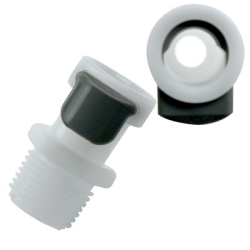 "1/4"" NPT APC Series Acetal Coupling Body - Straight Thru (Insert Sold Separately)"