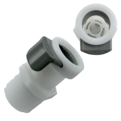 "3/8"" NPT APC Series Acetal Coupling Body - Shutoff (Insert Sold Separately)"