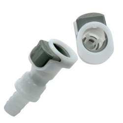 "1/4"" In-line Hose Barb APC Series Acetal Coupling Body w/Shroud - Shutoff (Insert Sold Separately)"