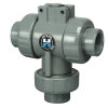 "1/2"" Socket/Threaded HCTW Series PVC Three Way Valve with EPDM O-rings"