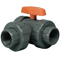 "1-1/2"" PVC Lateral LA Series 3-Way Valve w/Threaded & Socket Ends"