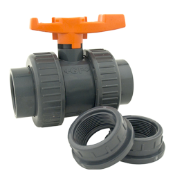 "1"" Threaded/Socket PVC True Union Valve with FKM Seals"
