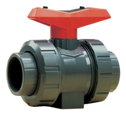 "1-1/4"" Threaded/Socket PVC True Union Ball Valve with FPM Seals"