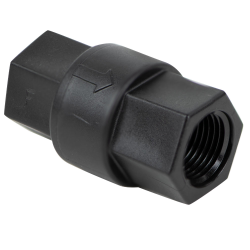 "1/4"" FNPT x 1/4"" FNPT Polypropylene Check Valve with Buna-N Seals, 1/3 PSI Cracking Pressure & 302 SS Spring"