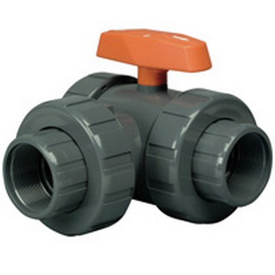 "3/4"" PVC Lateral LA Series 3-Way Valve w/Threaded & Socket Ends"