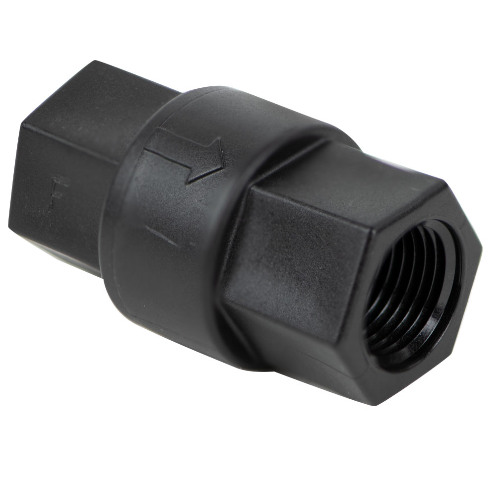 "3/8"" FNPT x 3/8"" FNPT Polypropylene Check Valve with Buna-N Seals, 1/3 PSI Cracking Pressure & 302 SS Spring"